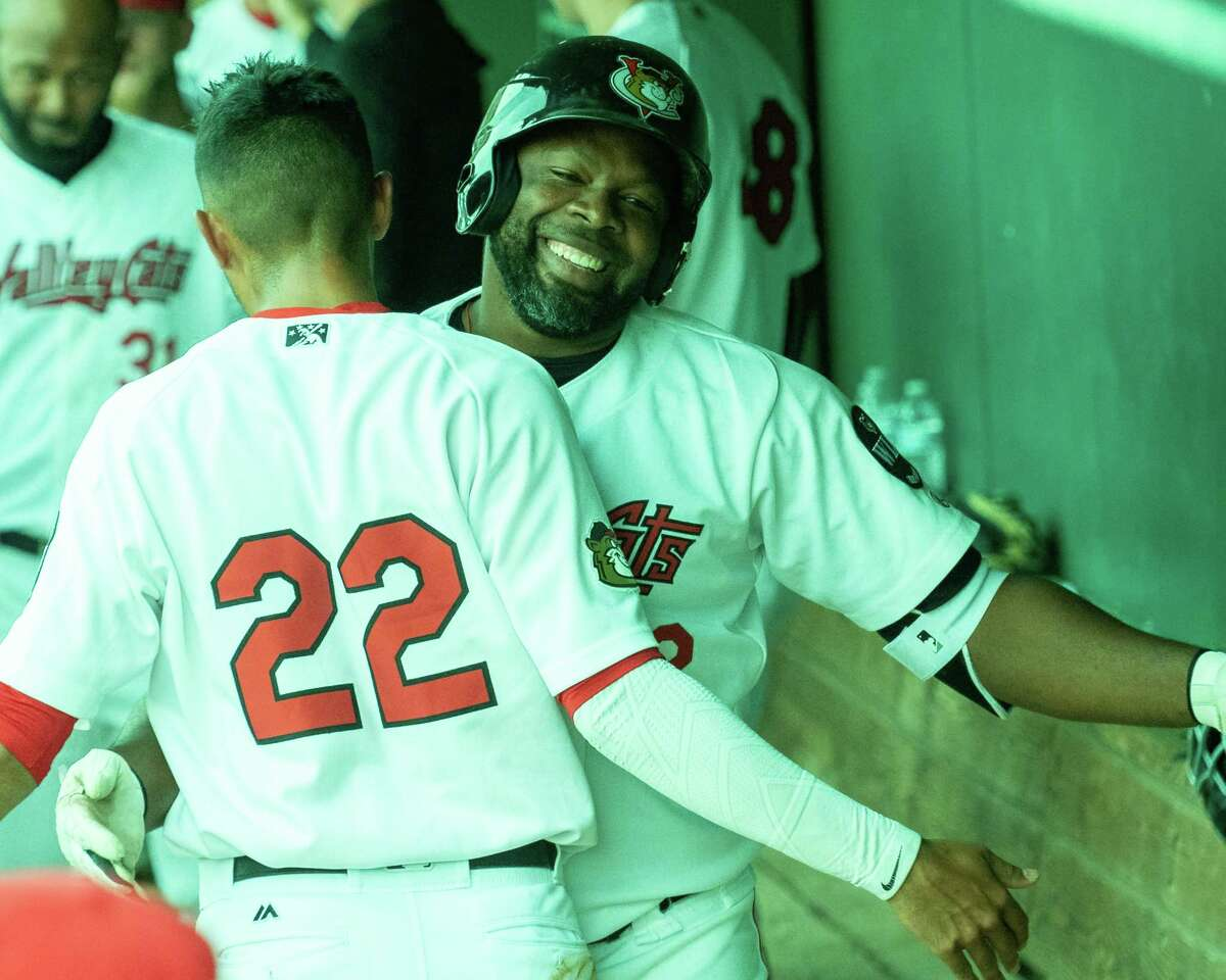 Tri-City Valley Cats shortstop Nelson Monlina (22) congratulates first baseman Denis Phipps after the latter hit a home run against the Washington Wild Things at the Joseph L. Bruno Stadium on the Hudson Valley Community College campus in Troy, NY, on Saturday, June 26, 2021 (Jim Franco/Special to the Times Union)