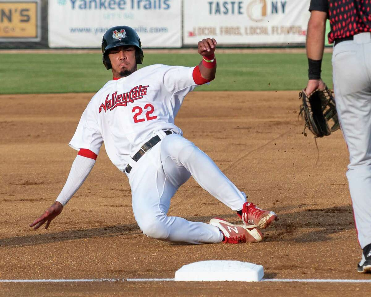 Tri-City ValleyCats shortstop Nelson Molina slides into third against the Washington Wild Things at the Joseph L. Bruno Stadium on the Hudson Valley Community College campus in Troy, NY, on Saturday, June 26, 2021 (Jim Franco/Special to the Times Union)