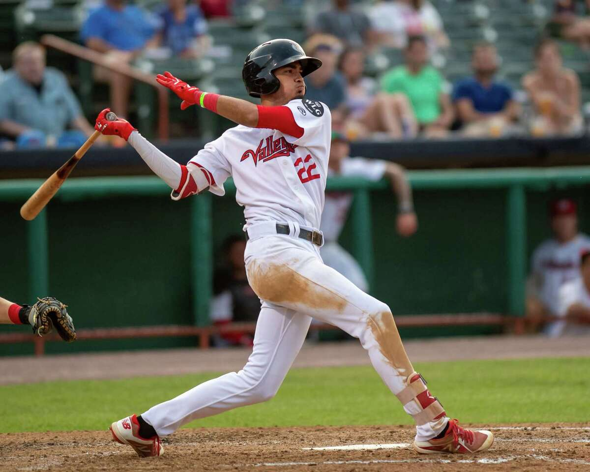 Tri-City ValleyCats shortstop Nelson Molina takes a cut against the Washington Wild Things at the Joseph L. Bruno Stadium on the Hudson Valley Community College campus in Troy, NY, on Saturday, June 26, 2021 (Jim Franco/Special to the Times Union)
