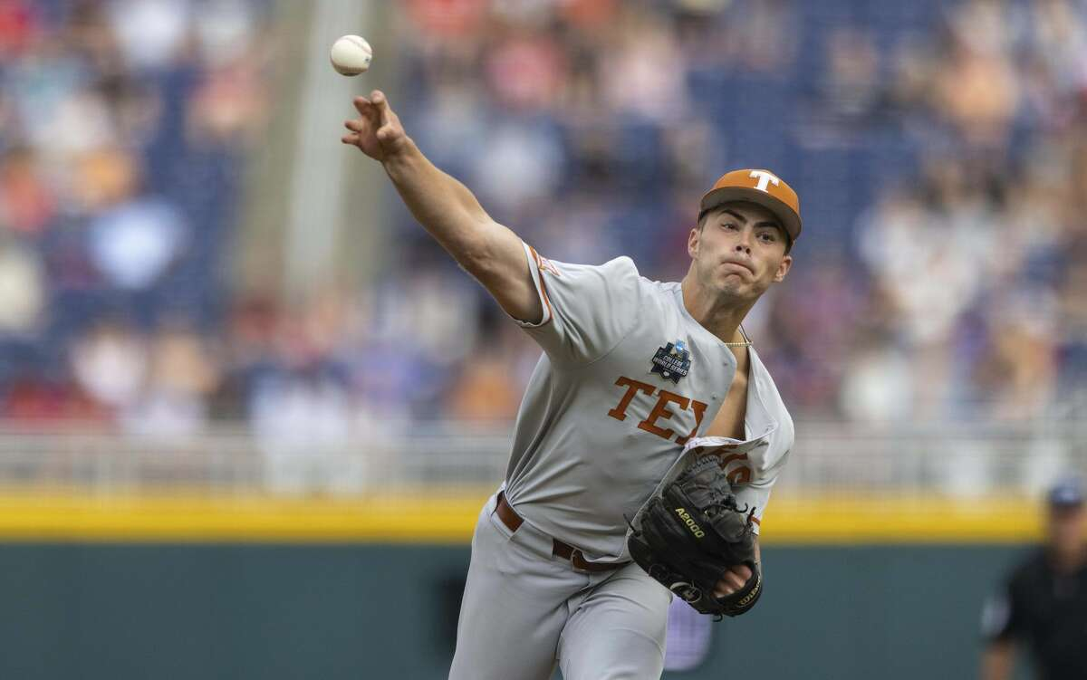 Texas starting pitcher Tristan Stevens throws against Mississippi State in the first inning during a baseball game in the College World Series Saturday, June 26, 2021, at TD Ameritrade Park in Omaha, Neb. (AP Photo/Rebecca S. Gratz)