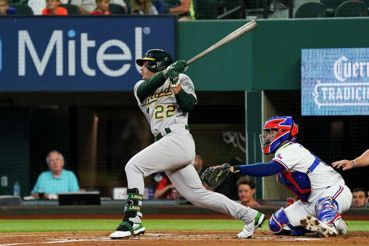 ARLINGTON, TX - JUNE 24: Ramon Laureano #22 of the Oakland Athletics doubles during the first inning of the game against the Texas Rangers at Globe Life Field on June 24, 2021 in Arlington, Texas. (Photo by Alex Bierens de Haan/Getty Images)