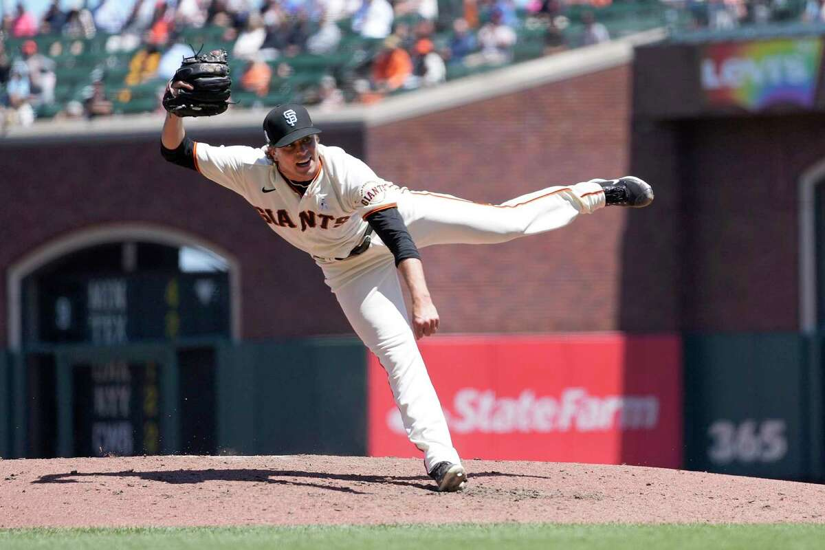 San Francisco Giants starting pitcher Sammy Long delivers against the Philadelphia Phillies during the sixth inning of a baseball game Sunday, June 20, 2021, in San Francisco. (AP Photo/Tony Avelar)