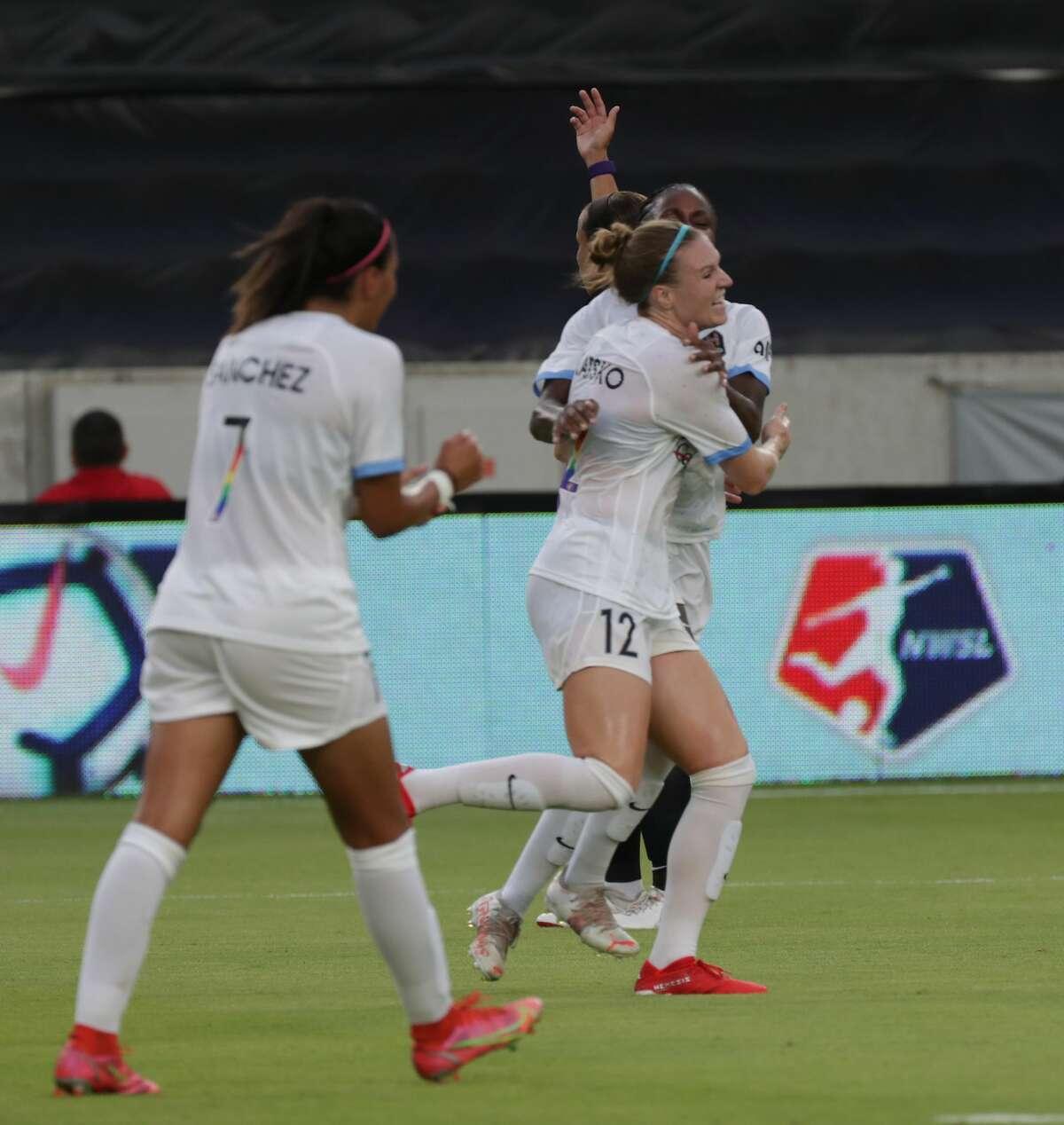 Houston Dash forward Veronica Latsko (12) celebrates after scoring a goal during the first half match at BBVA Compass Stadium on Saturday, June 26, 2021, in Houston.