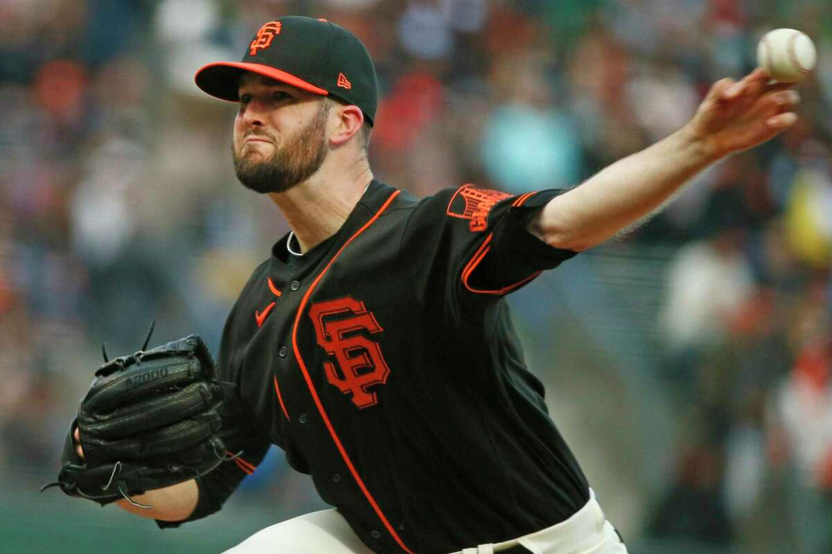 San Francisco Giants starting pitcher Alex Wood (57) against the Oakland Athletics in the first inning during an MLB game at Oracle Park, Saturday, June 26, 2021, in San Francisco, Calif.