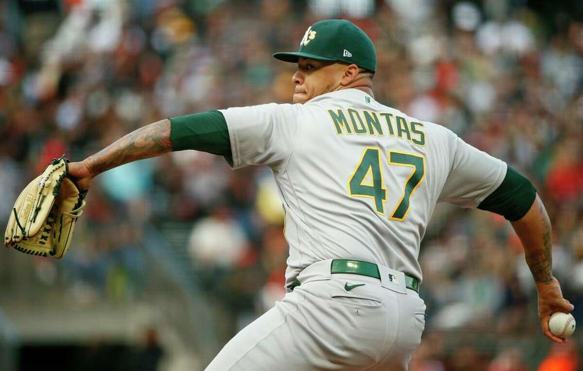 Oakland Athletics starting pitcher Frankie Montas (47) against the San Francisco Giants in the first inning during an MLB game at Oracle Park, Saturday, June 26, 2021, in San Francisco, Calif.