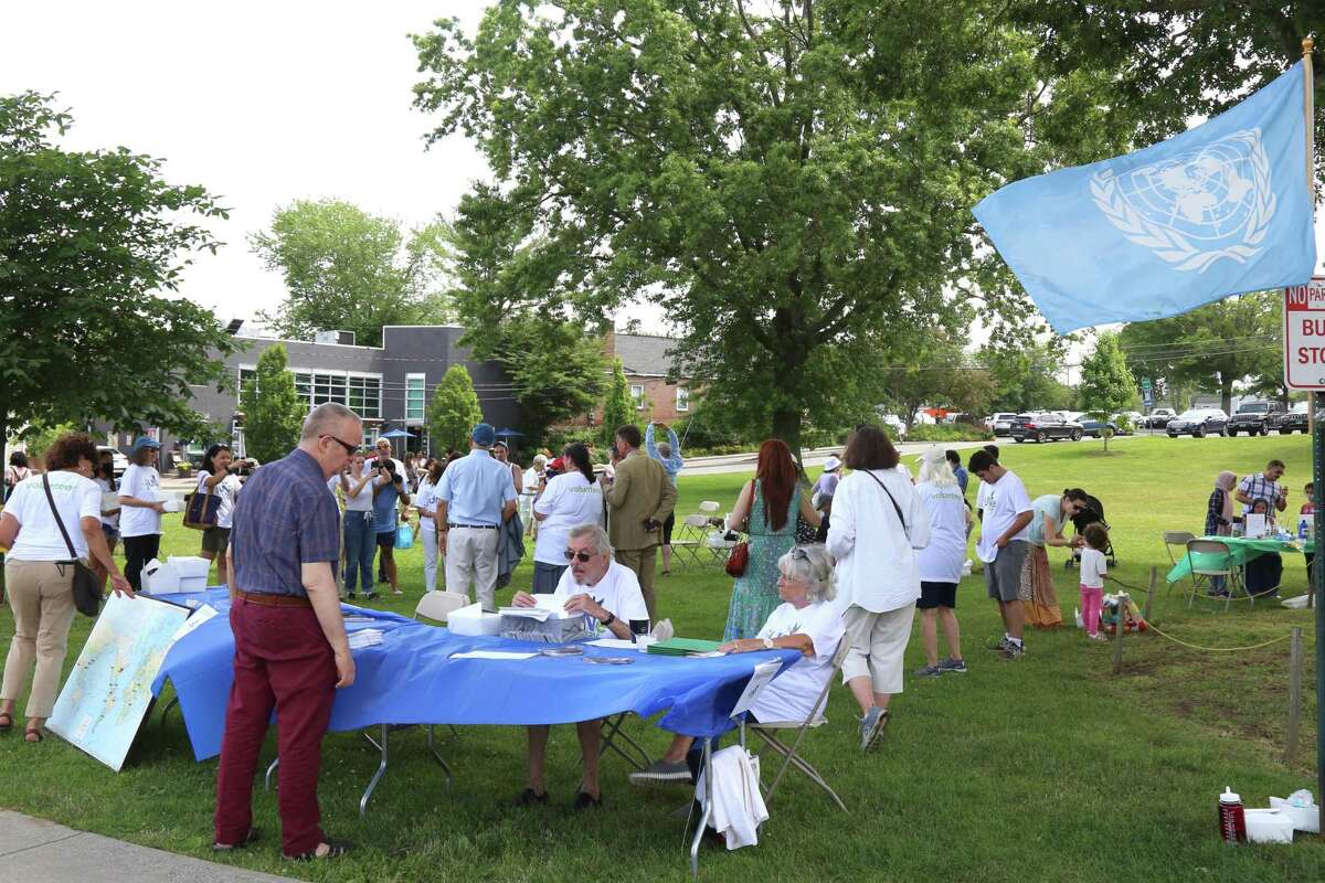 The U.N. flag flies over the 56th jUNe Day Celebration ceremony on Jesup Green on Saturday, June 26, 2021 in Westport, Conn.
