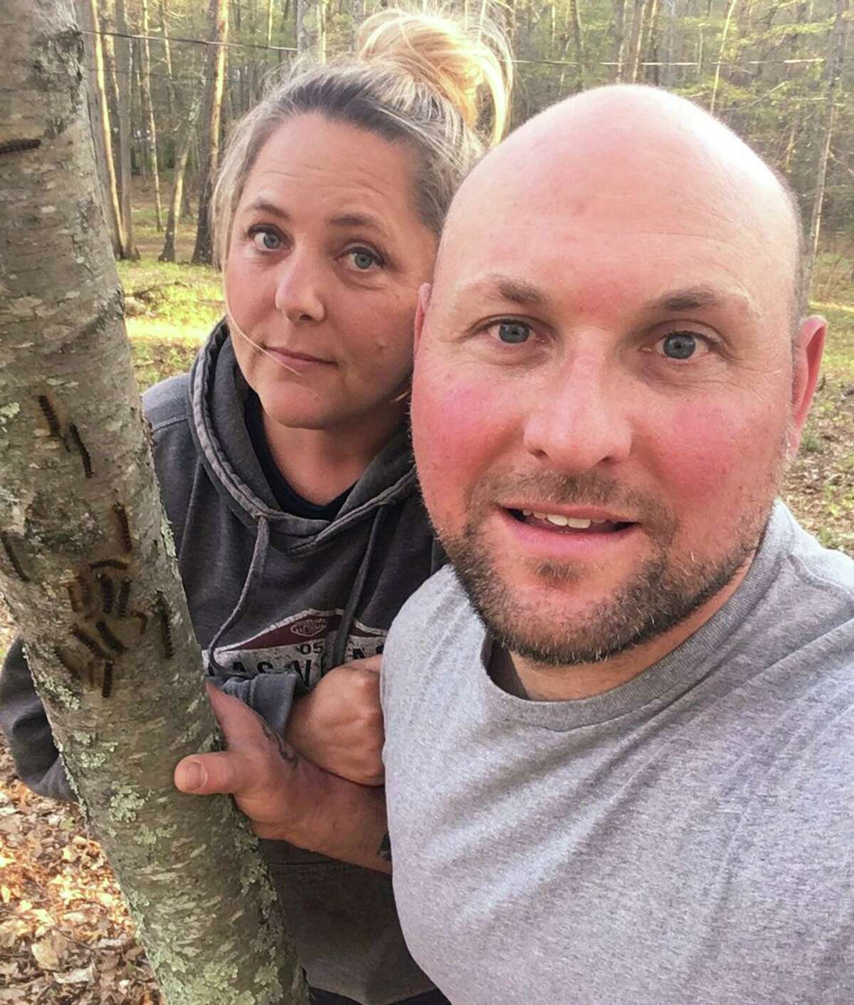 Sharon residents Kym Zwick and her husband Kevin Hill are concerned about the infestation of gypsy moths on their property.