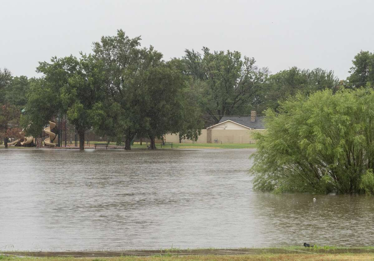 Heavy rains overnight and early 06/27/2021 have flooded Graffa Park. Tim Fischer/Reporter-Telegram