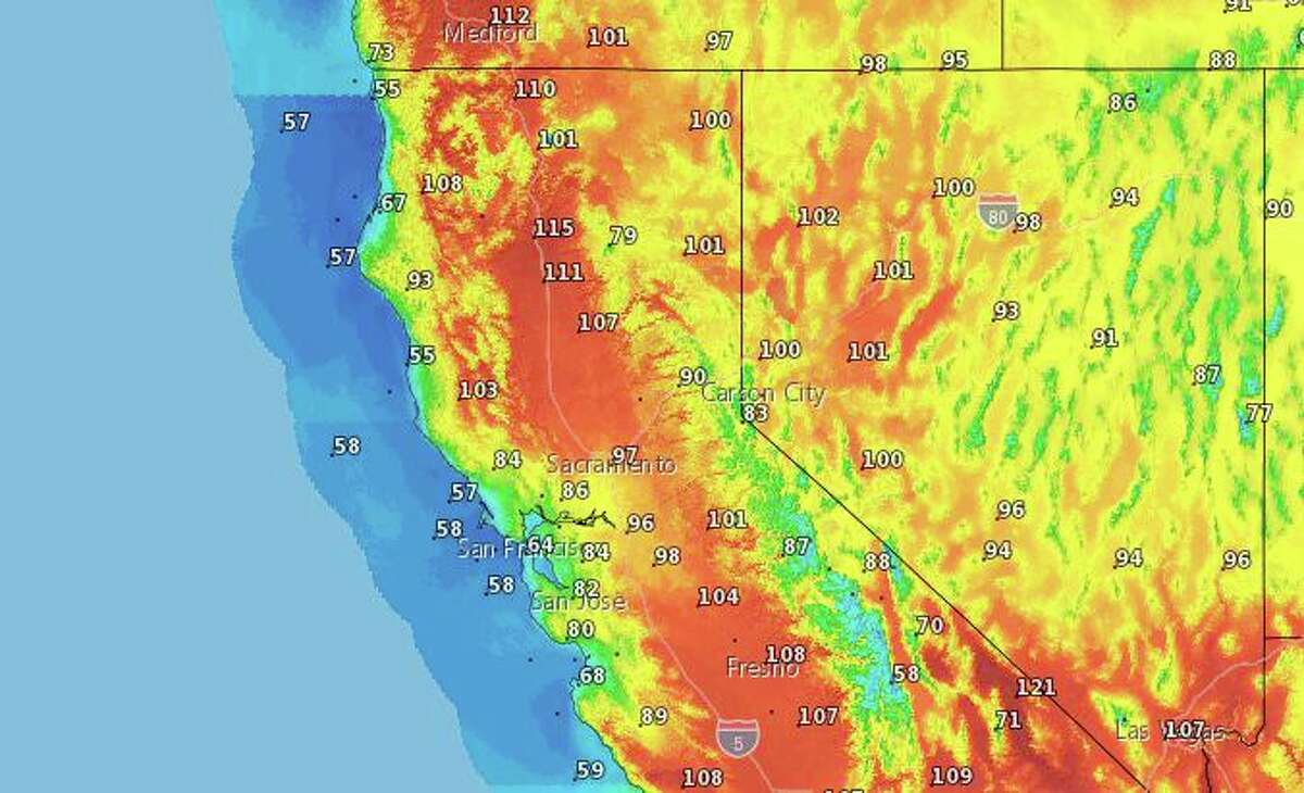 Expected high temperatures Sunday, from the National Weather Service.