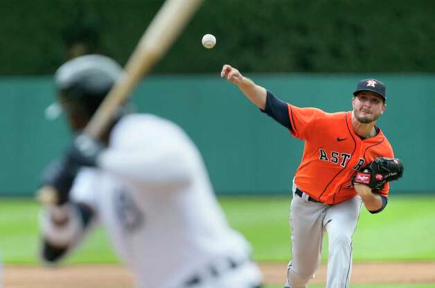 Houston Astros' Jake Odorizzi, right, pitches against the Detroit Tigers during the third inning of a baseball game Sunday, June 27, 2021, in Detroit. (AP Photo/Duane Burleson) Photo: Duane Burleson, Associated Press / Copyright 2021 The Associated Press. All rights reserved.