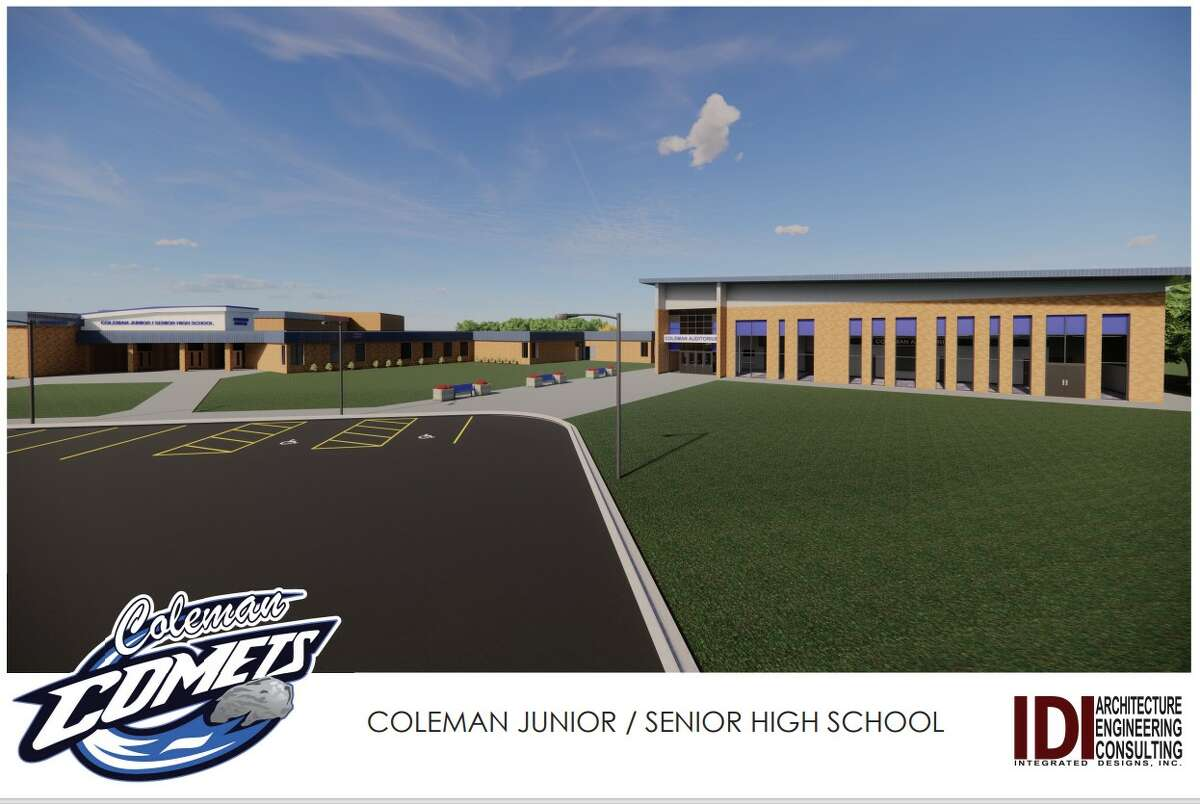 This is a rendering of how Coleman Junior/Senior High School would look once the new proposed auditorium (to the right) is added.