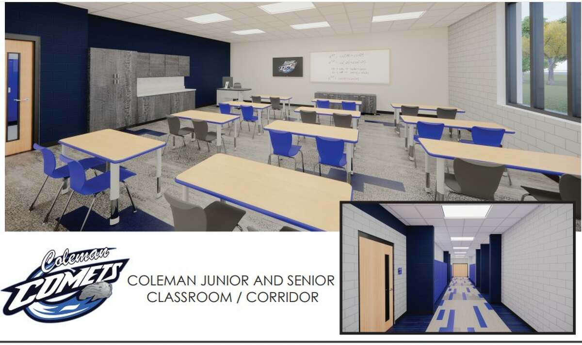 This is a rendering of how classrooms and corridors would look at Coleman Junior/Senior High School after proposed renovations are completed, pending the approval of the Aug. 3 bond proposal.