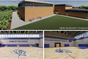 This is an architectural rendering of the outside and inside of Coleman Junior/Senior High School's proposed new auxiliary gym, pending the approval of an Aug. 3 bond proposal.