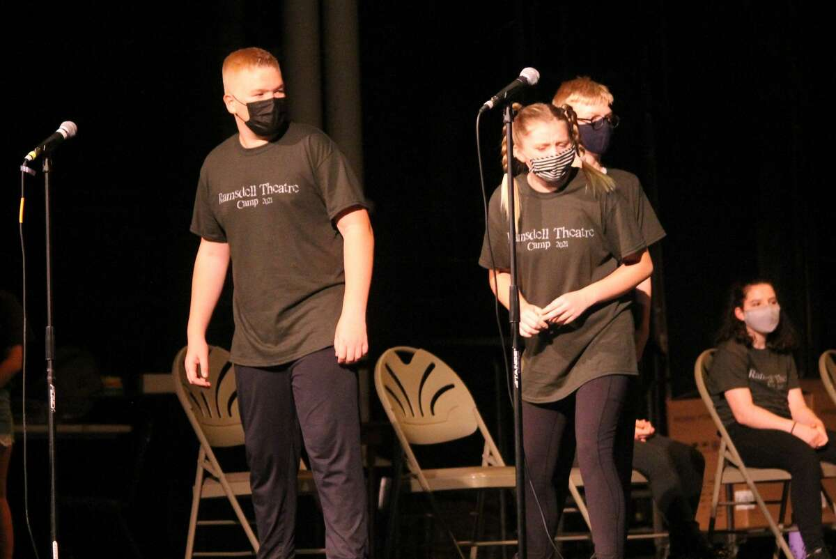 Students perform in the Ramsdell Theatre Camp Showcase at the Ramsdell Theatre in Manistee on Saturday. The showcase was the result of a two-week camp led by Erin Thompson and Abbey Siegworth.