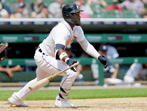 Detroit Tigers' Akil Baddoo hits an RBI-single to tie a baseball game against the Houston Astros during the seventh inning Sunday, June 27, 2021, in Detroit. (AP Photo/Duane Burleson) Photo: Duane Burleson, Associated Press / Copyright 2021 The Associated Press. All rights reserved.