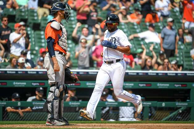 DETROIT, MICHIGAN - JUNE 27: Willi Castro #9 of the Detroit Tigers scores a run against the Houston Astros during the bottom of the seventh inning at Comerica Park on June 27, 2021 in Detroit, Michigan. Photo: Nic Antaya, Getty Images / 2021 Getty Images