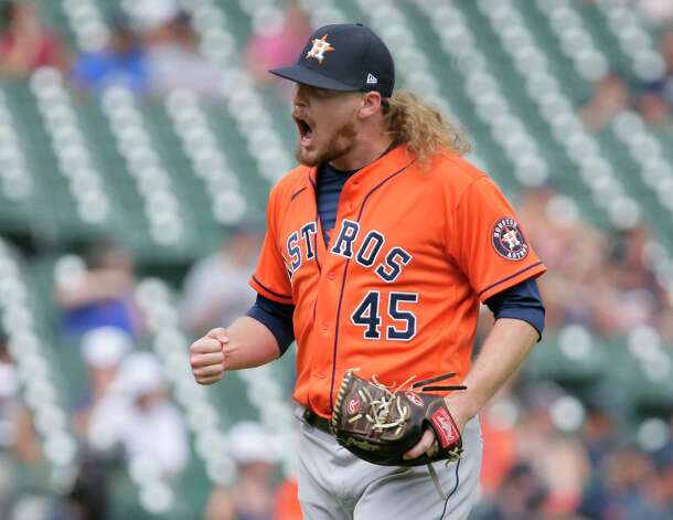 Houston Astros' Ryne Stanek (45) reacts after Detroit Tigers' Willi Castro flew out for the third out of the eighth inning of a baseball game Sunday, June 27, 2021, in Detroit. (AP Photo/Duane Burleson) Photo: Duane Burleson, Associated Press / Copyright 2021 The Associated Press. All rights reserved.