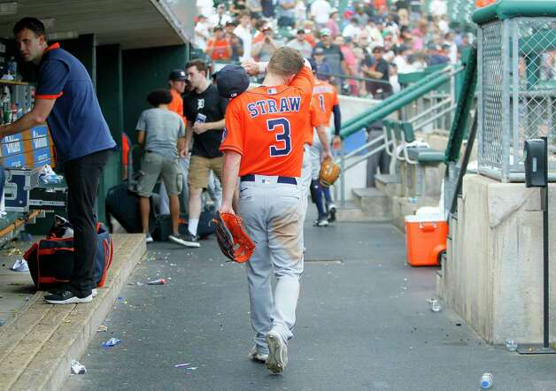 Houston Astros' Myles Straw (3) walks through the dugout after a loss to the Detroit Tigers in 10 innings of a baseball game Sunday, June 27, 2021, in Detroit. (AP Photo/Duane Burleson) Photo: Duane Burleson, Associated Press / Copyright 2021 The Associated Press. All rights reserved.