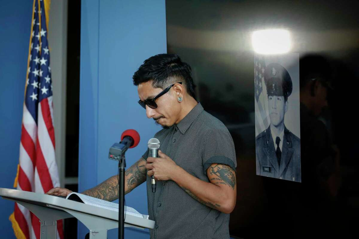 Richard Molina, nephew of Jose 'Joe' Campos Torres, the man killed by police in 1977, pauses before he introduced Houston Police Chief Troy Finner, who gave a formal apology to the family for the murder Sunday, June 27, 2021, in Houston.