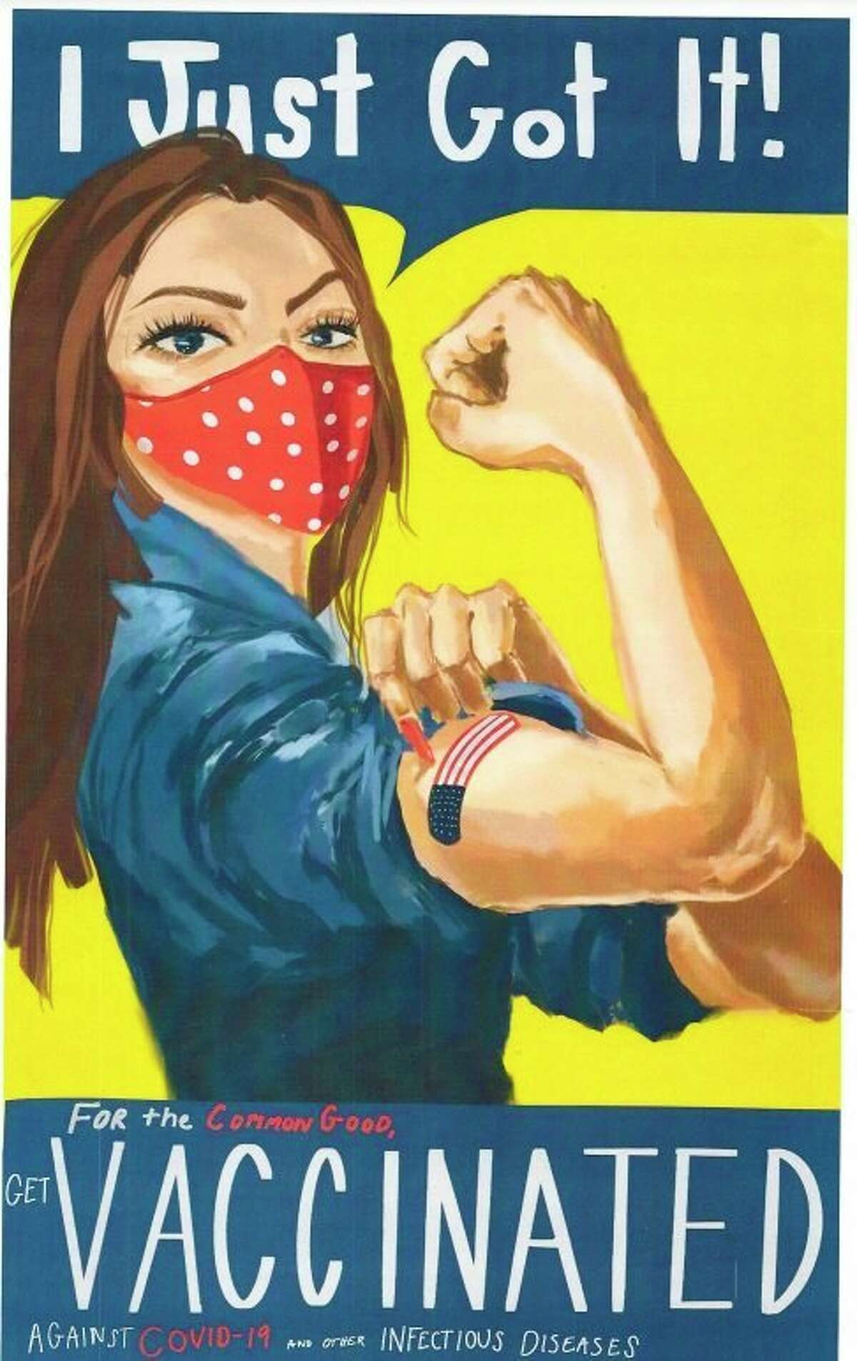 Reeve Katt from Benzie Central High School won a scholarship from the Benzie County Democrats for her poster highlighting the importance of getting vaccinated.(Courtesy Photo)