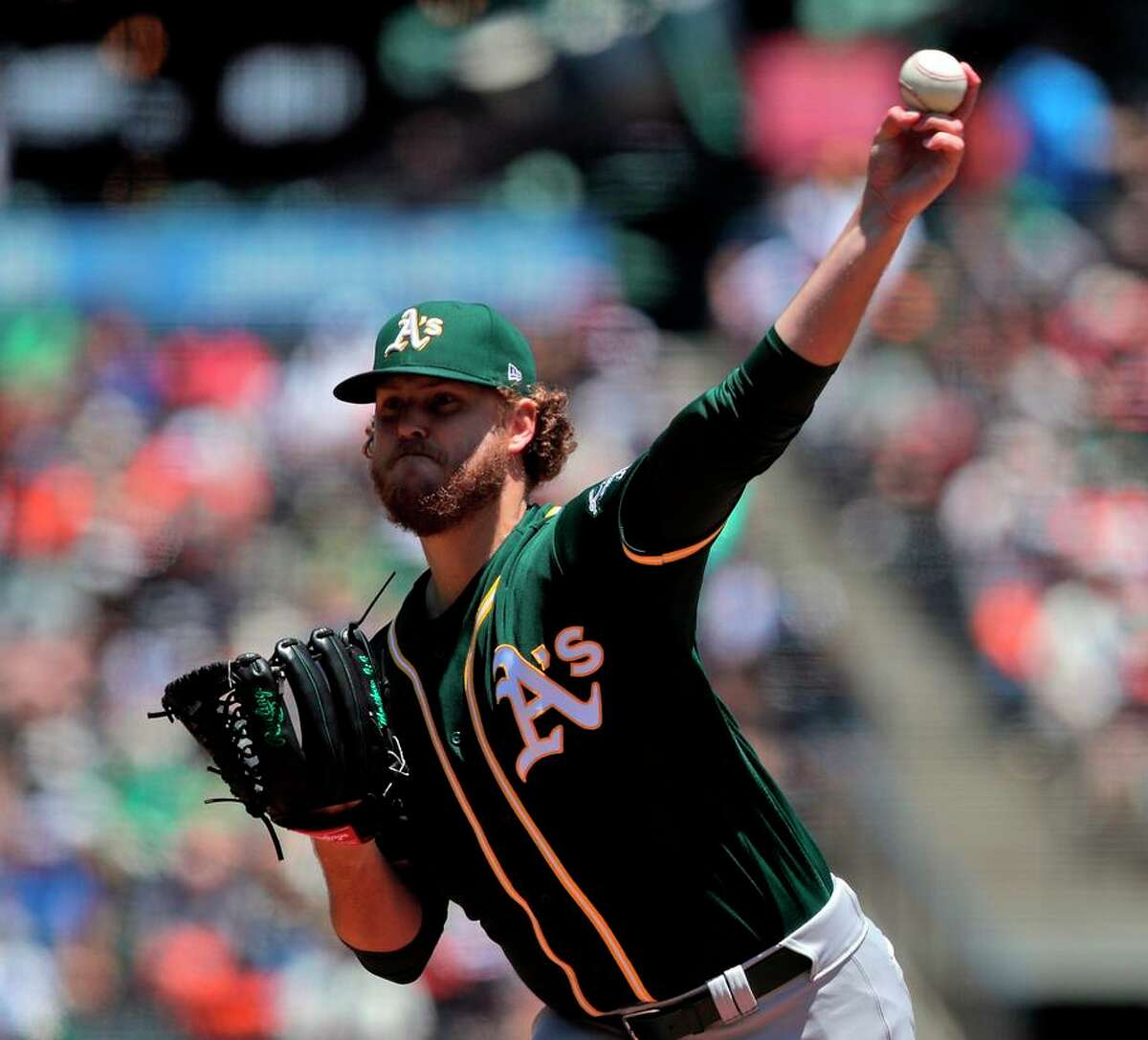 Cole Irvin threw 71 of his 100 pitches for strikes in his win over the Giants Sunday at Oracle Park in San Francisco.