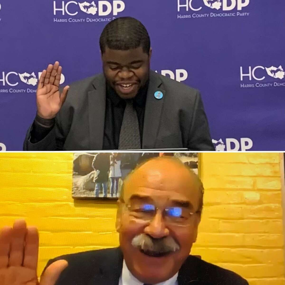 Odus Evbagharu (top) was elected Sunday as the first African-American to serve as Harris County Democratic Party Chair, according to a news release. He was sworn in by Texas Democratic Party Chair Gilberto Hinojosa.