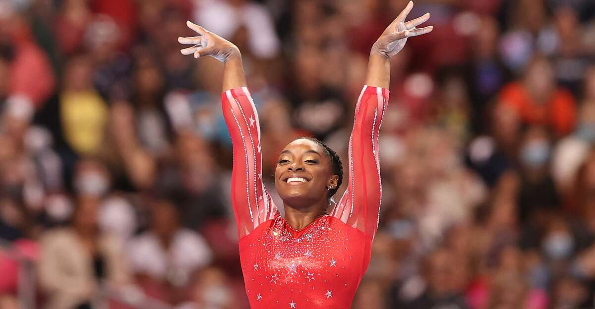 Simone Biles competes in the floor exercise during the Women's competition of the 2021 U.S. Gymnastics Olympic Trials at America's Center on June 27, 2021 in St Louis, Missouri. (Photo by Carmen Mandato/Getty Images)