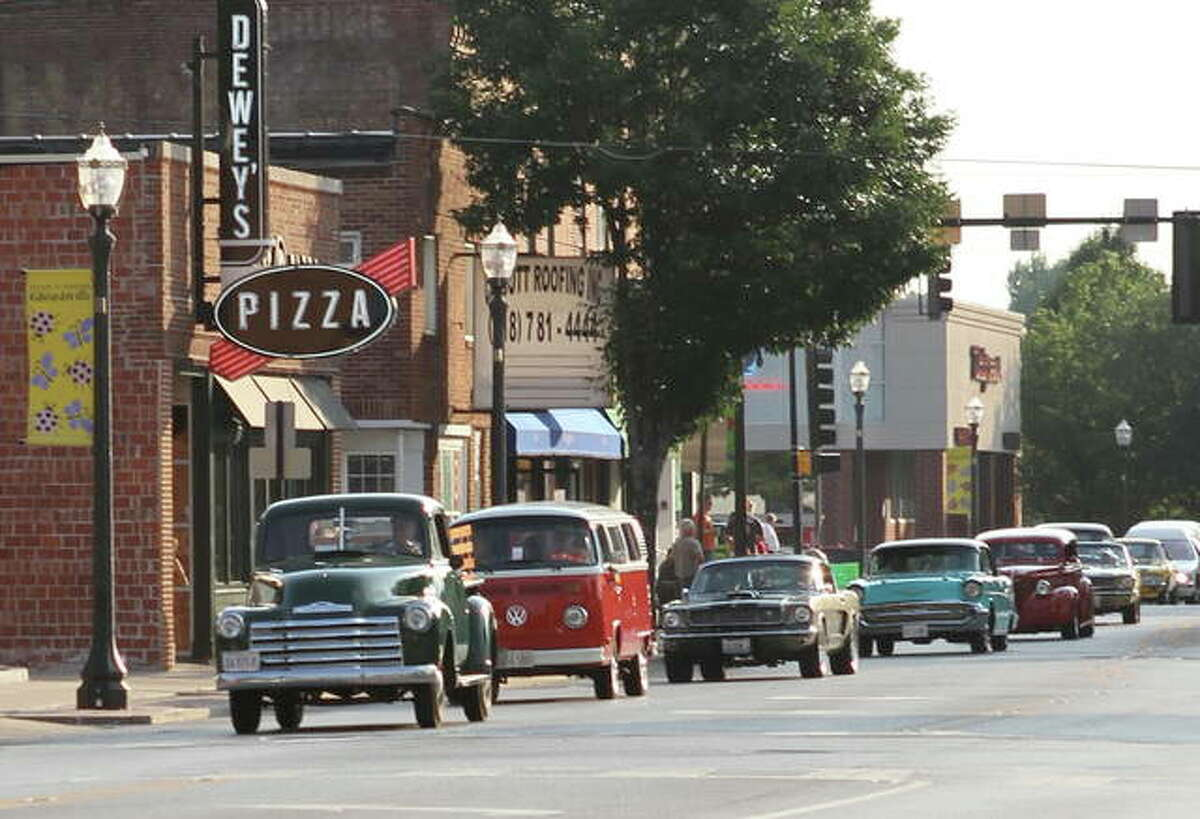The city of Edwardsville's Route 66 Festival, its showcase event, celebrates the Mother Road and all its significance and includes its always popular classic car cruise and show. This is from the 2012 festival.