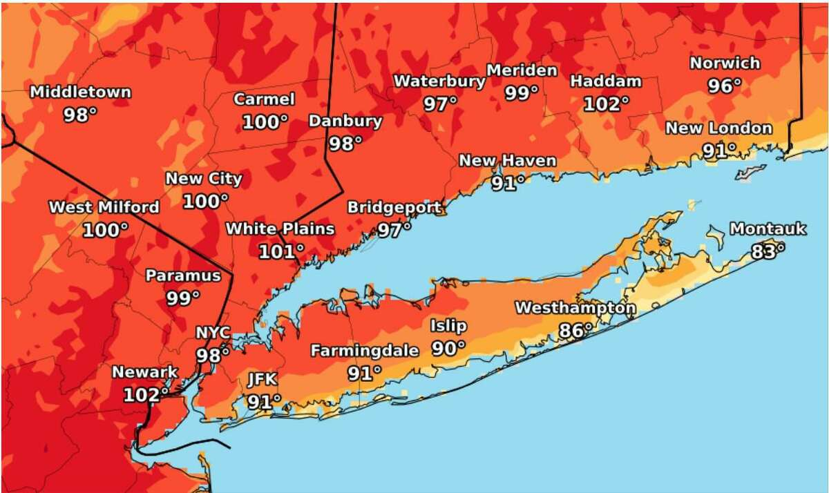 Felt temperatures expected in the New-York metro and tri-state region Monday, June 28. The heat wave has prompted Gov. Ned Lamont to announce cooling centers will be opened across Connecticut.