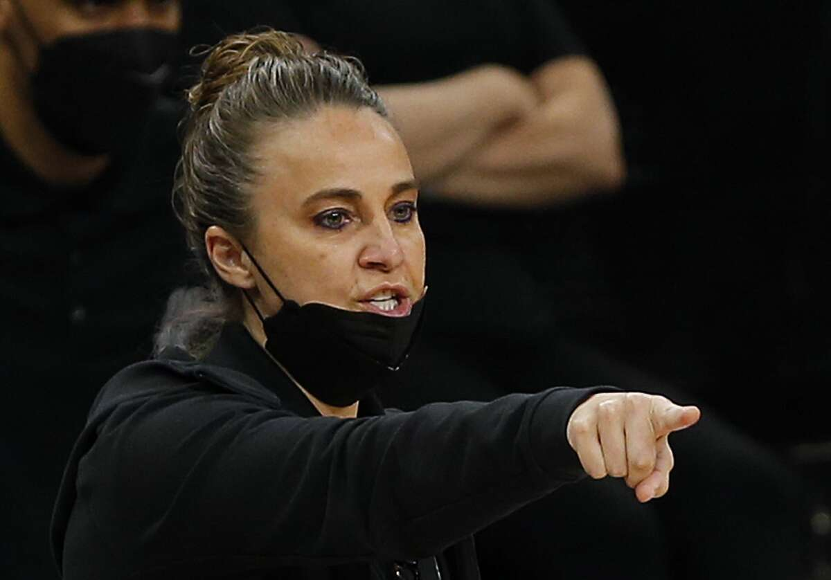SAN ANTONIO, TX - MARCH 29: Becky Hammond gives instruction during game against the Sacramento Kings in the second half at AT&T Center on March 29, 2021 in San Antonio, Texas. Sacramento Kings defeated the San Antonio Spurs 132-115. NOTE TO USER: User expressly acknowledges and agrees that , by downloading and or using this photograph, User is consenting to the terms and conditions of the Getty Images License Agreement. (Photo by Ronald Cortes/Getty Images)