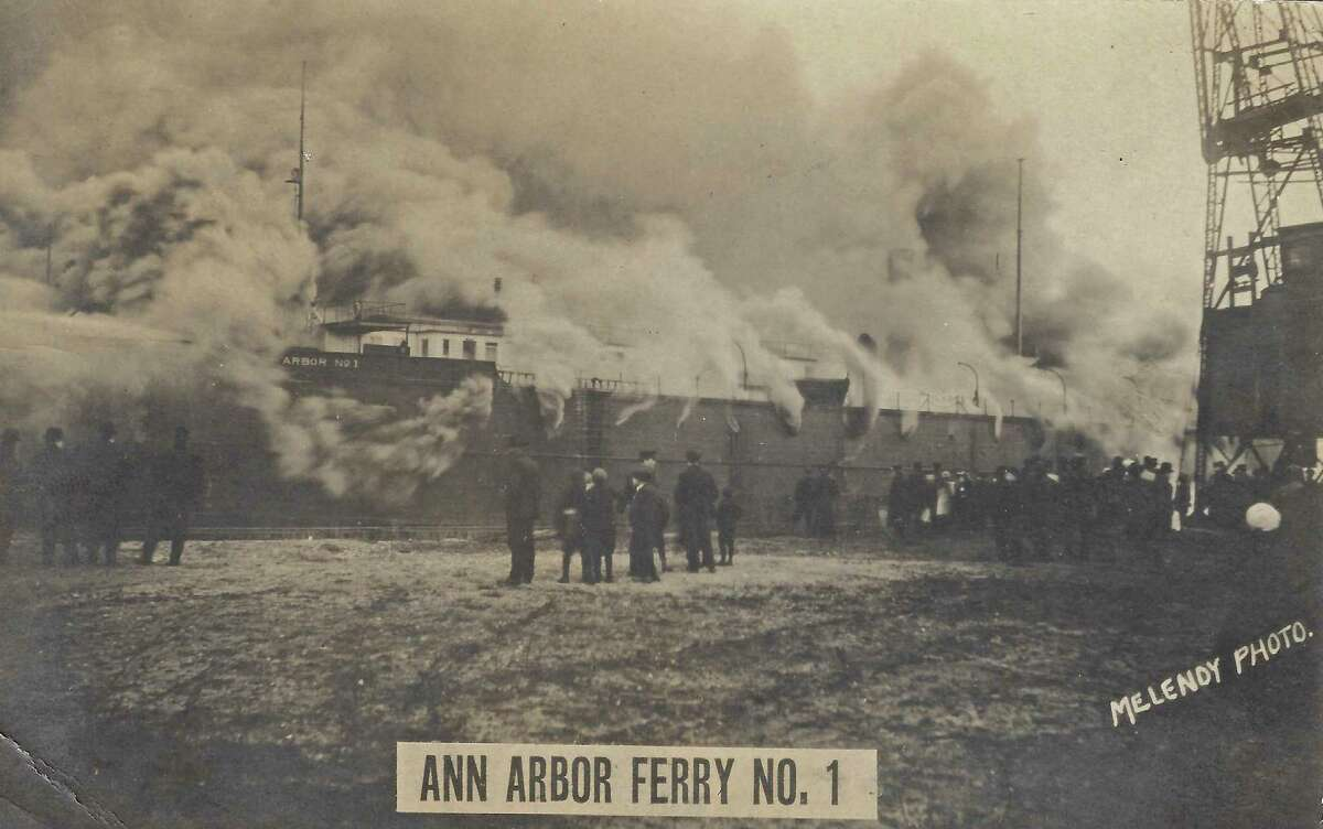 The Ann Arbor #1, world's first railroad car ferry, was a wooden-hulled ship serving out of Frankfort for 18 years, from 1892, until it burned to the waterline inManitowoc harbor in 1910. (Courtesy Photo)