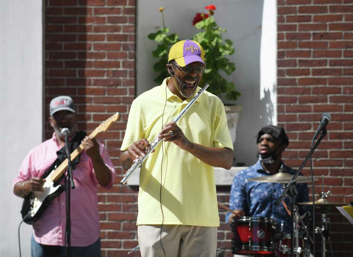 Al Thomas performs with his band Altruistic at the Juneteenth celebration in Stamford on Sunday.