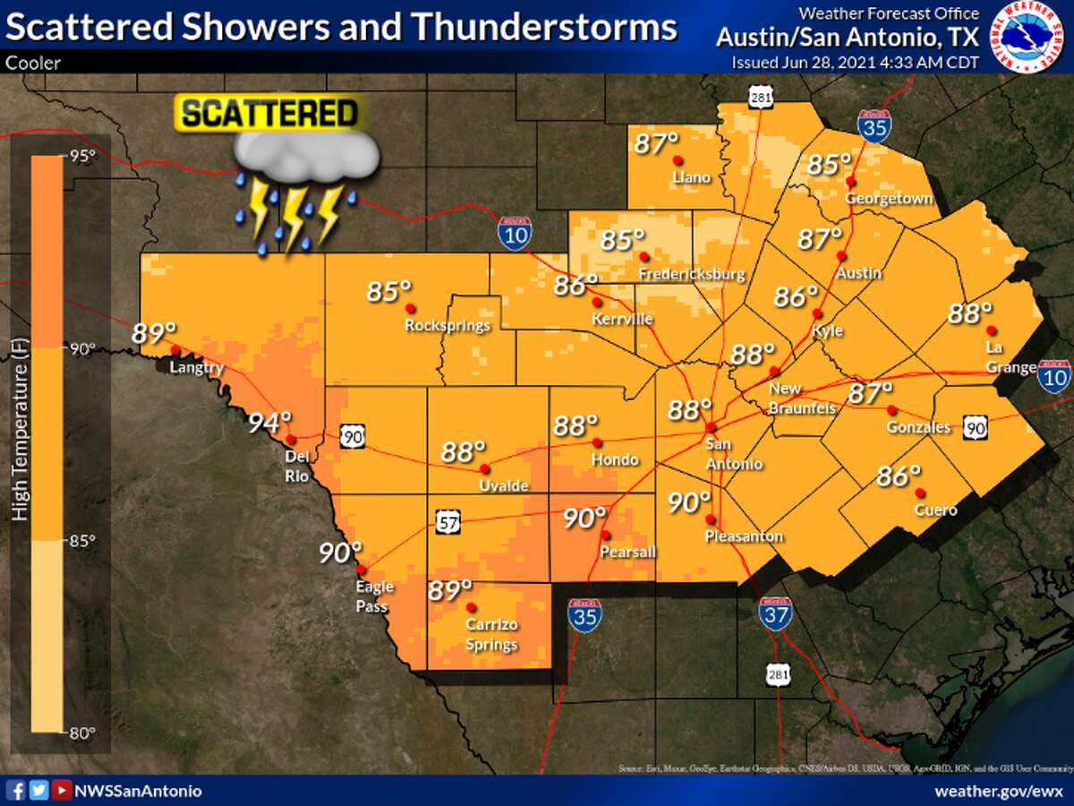 Scattered showers and storms expected in San Antonio & Austin area.