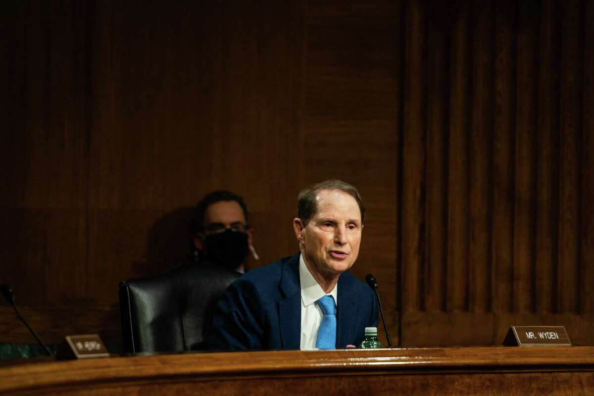 Sen. Ron Wyden, D-Ore., speaks during a Senate Intelligence Committee hearing earlier this year.