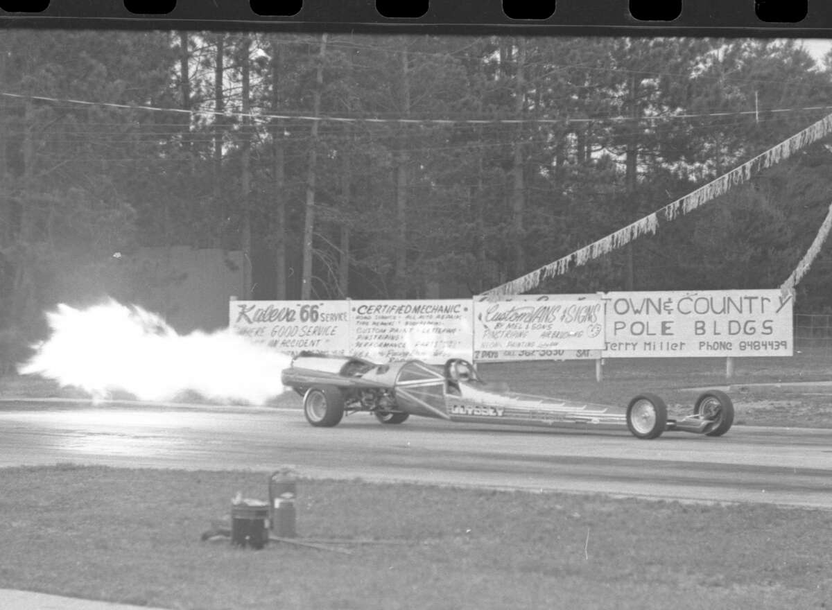 Aggie Hendricks, Odyssey Jet driver takes her vehicle for a run at the Manistee County Dragway. The photo was published in the News Advocate on June 29, 1981. (Manistee County Historical Museum photo)