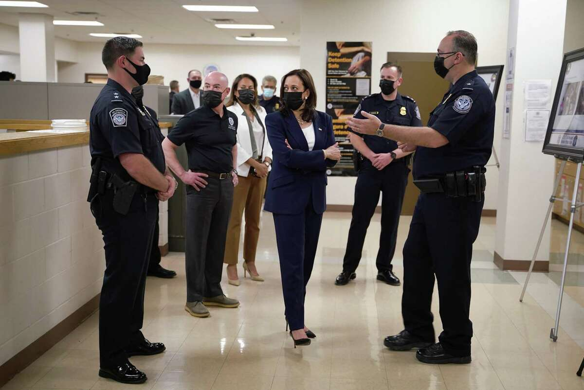 Vice President Kamala Harris tours the El Paso Paso del Norte Port of Entry in El Paso, Texas on Friday, June 25, 2021. Harris said on Friday that she had always intended to visit the U.S.-Mexico border, responding to criticism by Republicans that she should have traveled there earlier as part of her work to address the root causes of migration. (Sarahbeth Maney/The New York Times)