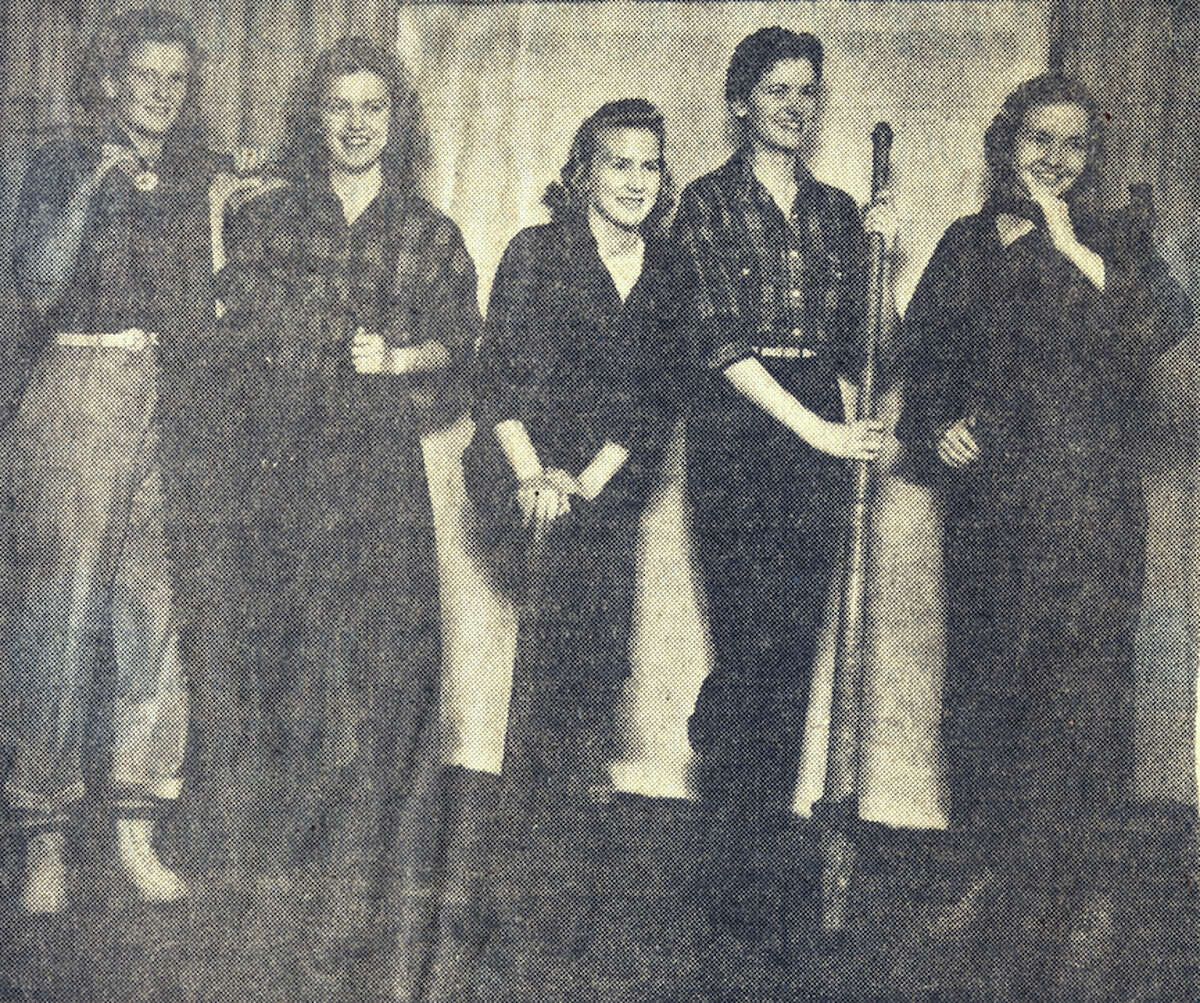 Shown are Manistee's Forest Festival Queen and members of her court of honor from 1941. (From left) Pictured are: Eleanor Simpson, of Kaleva; Sally Morrison, of Manistee; Queen Donna Martineau, of Arcadia; Marian Raskey and Eleanor James, of Manistee.