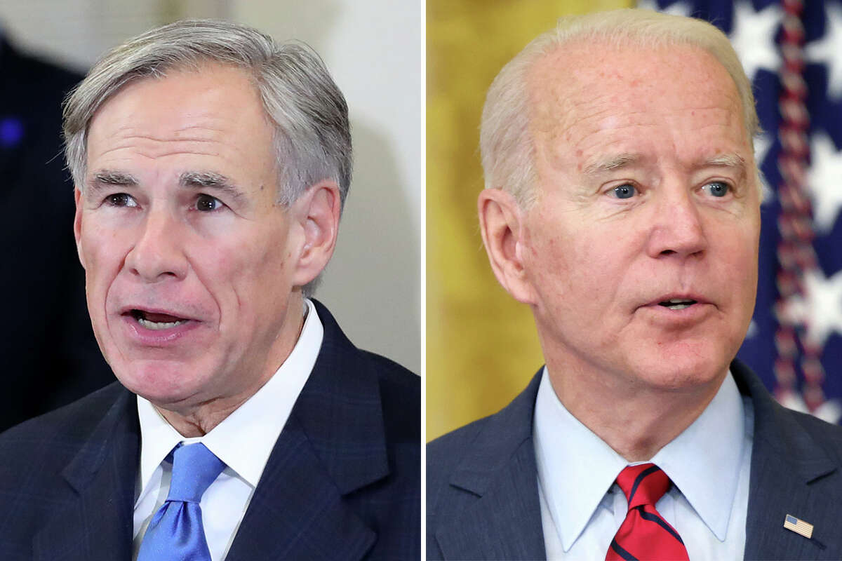 Texas Gov. Greg Abbott (left) and President Joe Biden are pictured together in this composite photo.