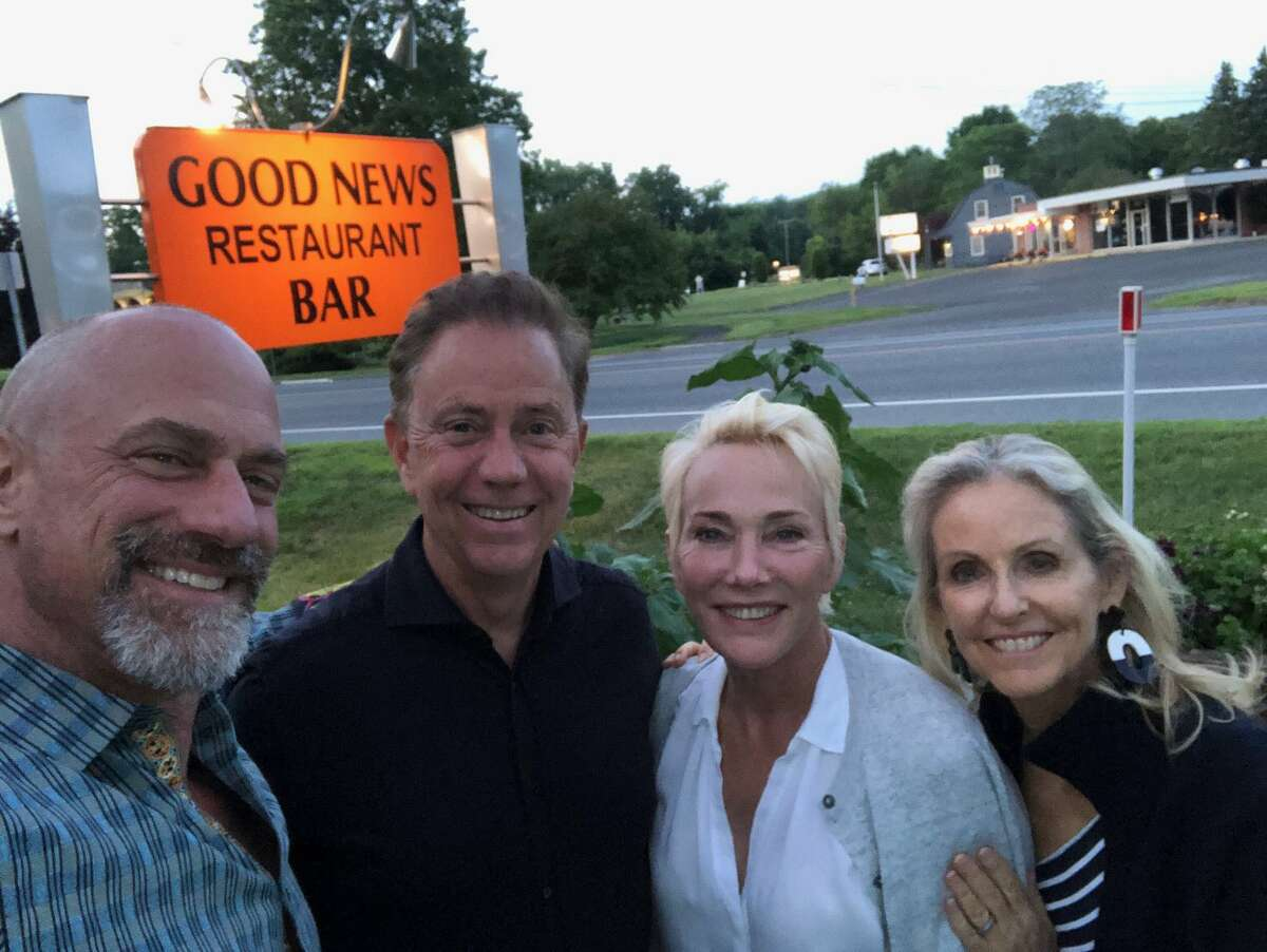 """""""Law & Order"""" actor Christopher Meloni (left) and wife Sherman (center-right) dined with Gov. NedLamont(center-left) and wife Ann (right) at the Good News Restaurant and Bar in Woodbury, Conn. on Sunday, June 27, 2021."""