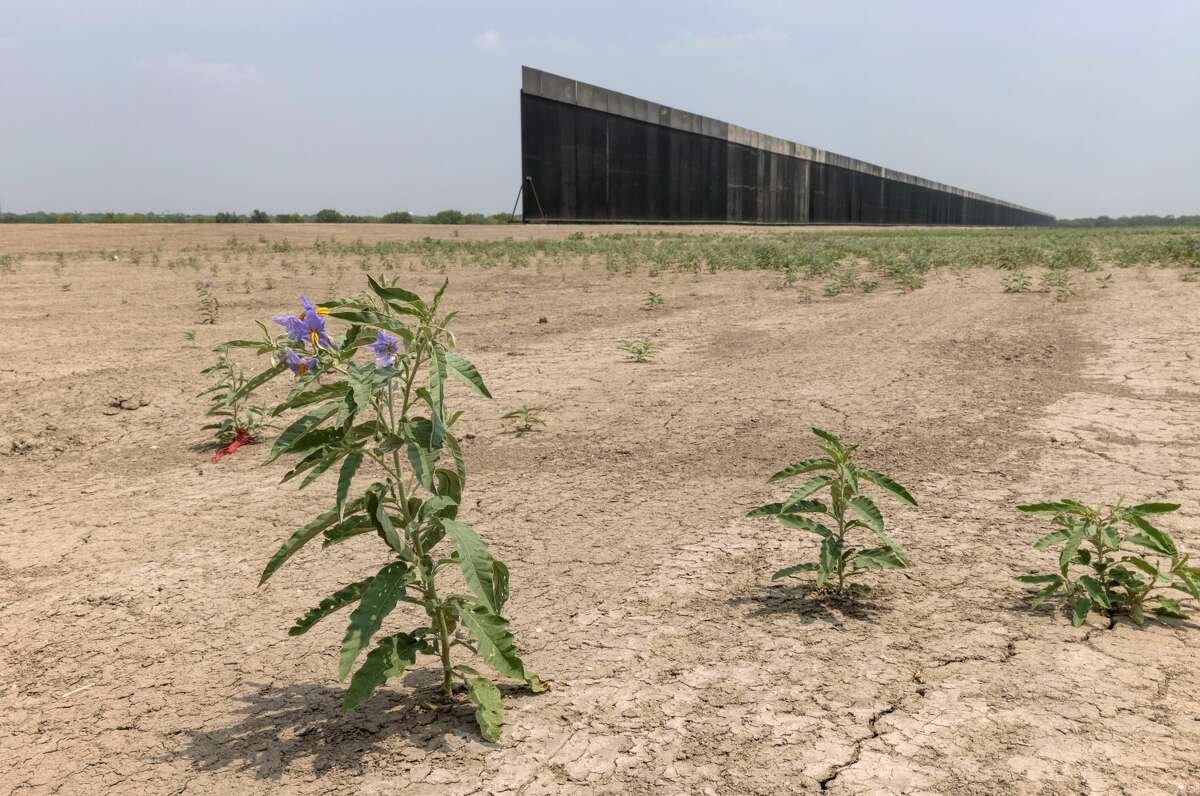 A portion of U.S.-Mexico border wall stands unfinished on April 14, 2021 near La Joya, Texas.