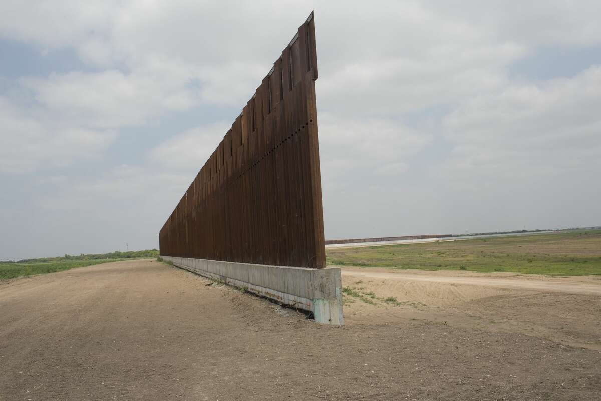 An unfinished section of the border wall occupies a levy, April 12, 2021 in Granjeno, Texas.
