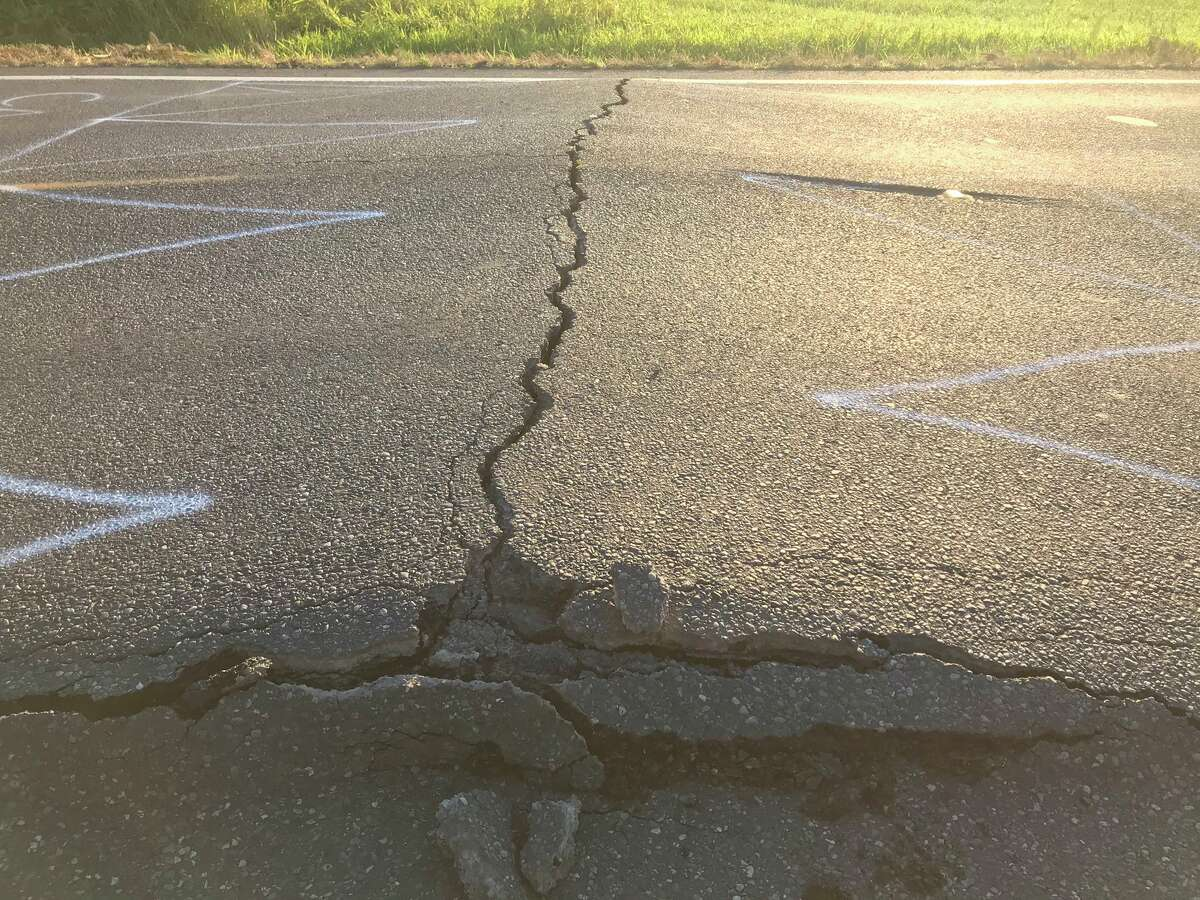 State Route 544 milepost 7 near Everson, Wash., was closed June 28, 2021, because the asphalt roadway buckled amid a heat wave.