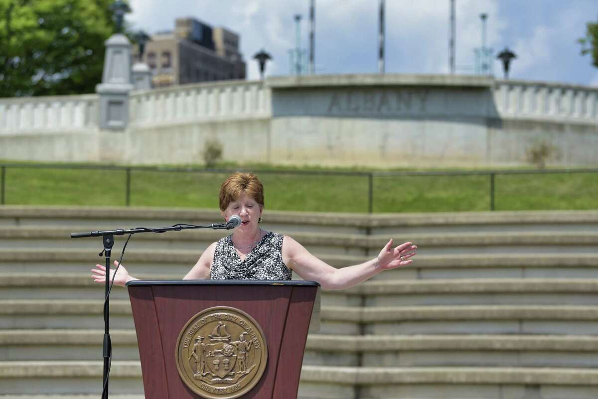 Albany Mayor Kathy Sheehan announces that going forward the Alive at Five concert series will be open to live audiences during a press conference at Jennings Landing on Monday, June 28, 2021, in Albany, N.Y. (Paul Buckowski/Times Union)