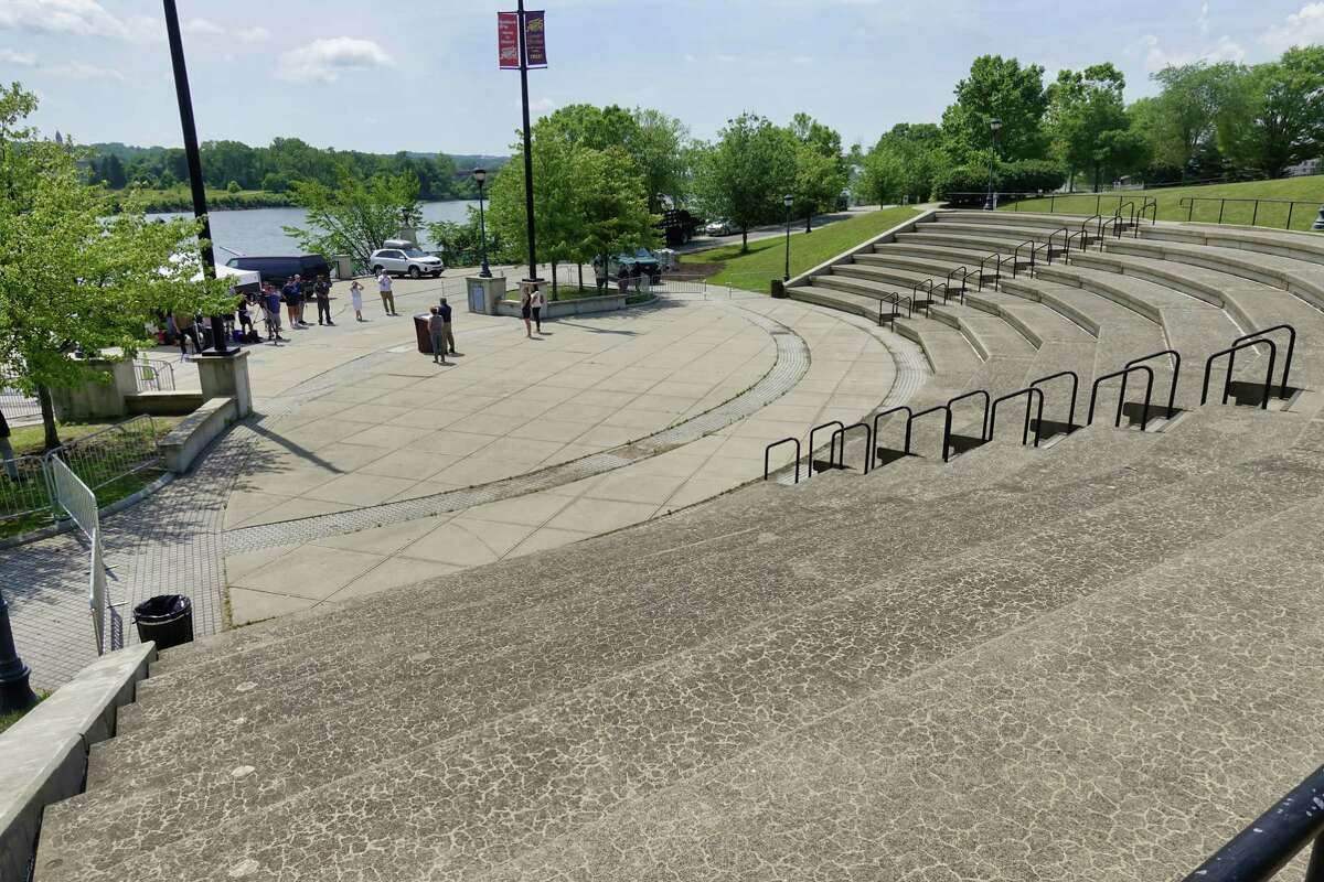 Albany Mayor Kathy Sheehan announced at a press conference at Jennings Landing on Monday, June 28, 2021, in Albany, N.Y., that going forward the Alive at Five concert series will be open to live audiences. (Paul Buckowski/Times Union)