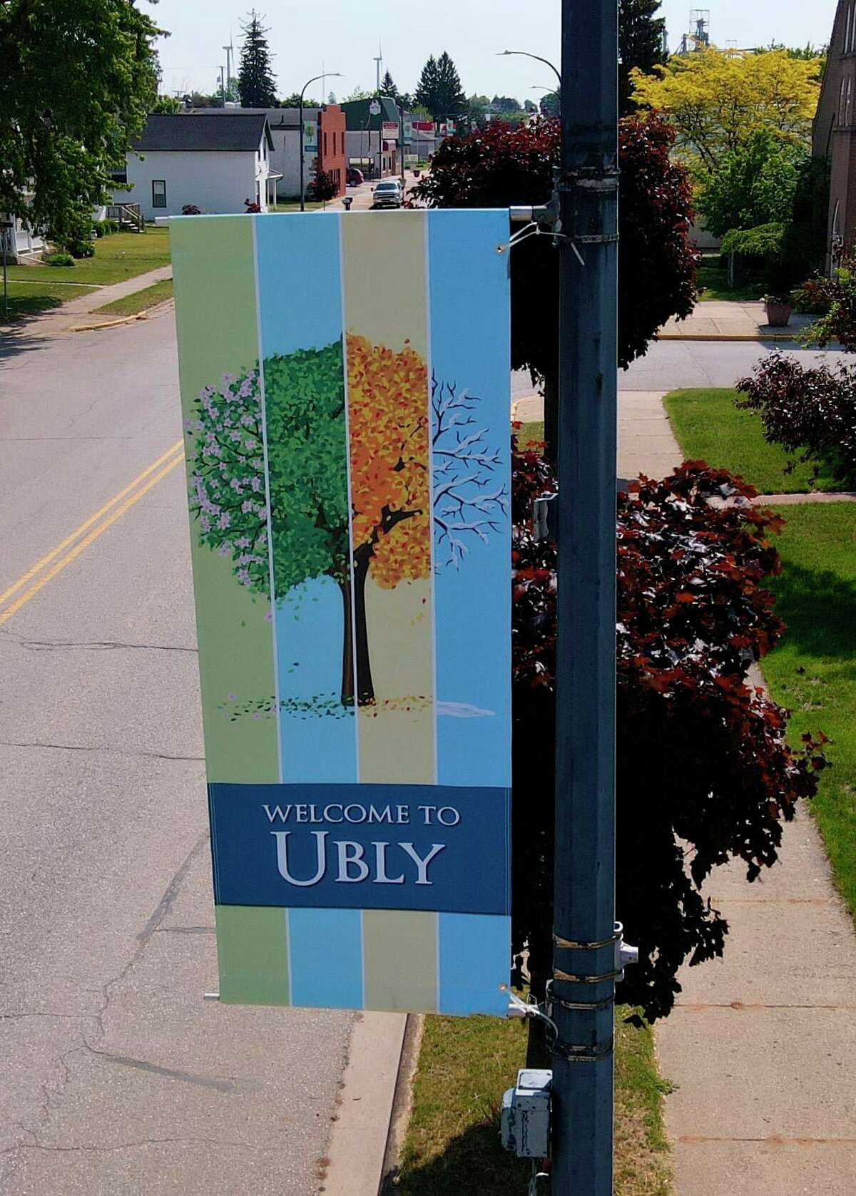Ubly's new highway banners show trees in different seasons throughout the year. The banner shows how trees change from spring, to summer, to fall, and to winter. (Rick Glaza/Great Lakes Drone Works.)