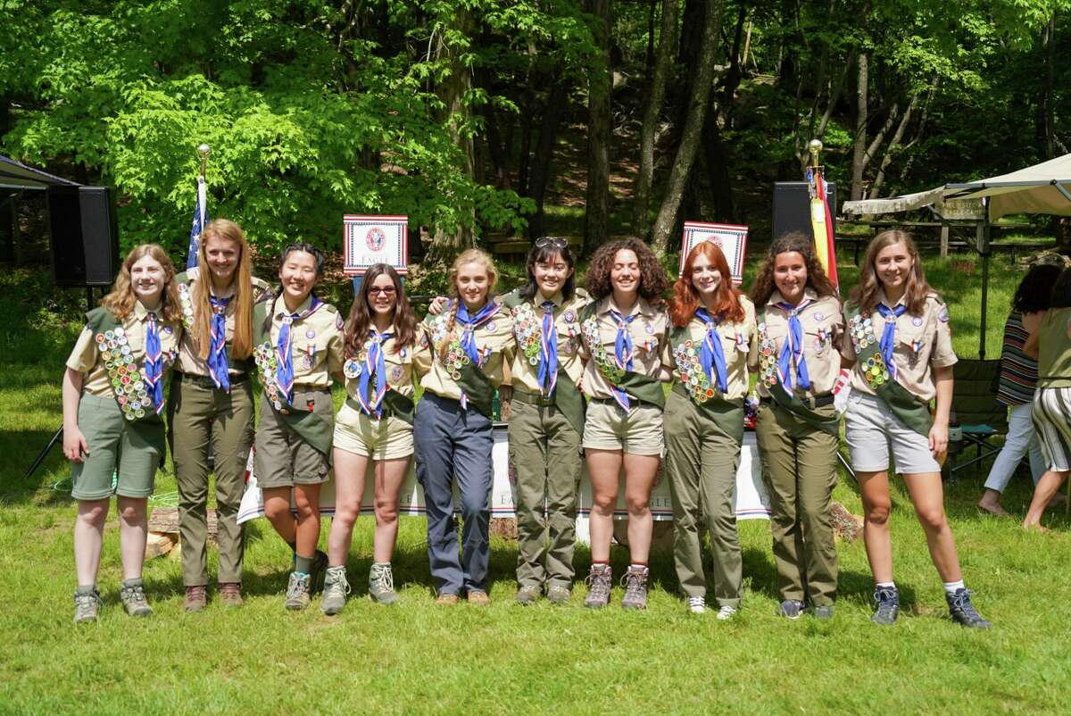 BSA Troop 19, Ridgefield's all-female scout troop, recently honored its first class of Eagle Scouts during a ceremony at Sturges Park, where the group held its inaugural campout. The scouts honored were: Maya Pereyra, Lisa van Gompel, Caroline Vilinskis, Evia Rodriguez, Gabriela Rogers, Jordan Mooney, Sophie Desmarais, Katie Bitner, Jax Mantione and Adelaine Fincham.