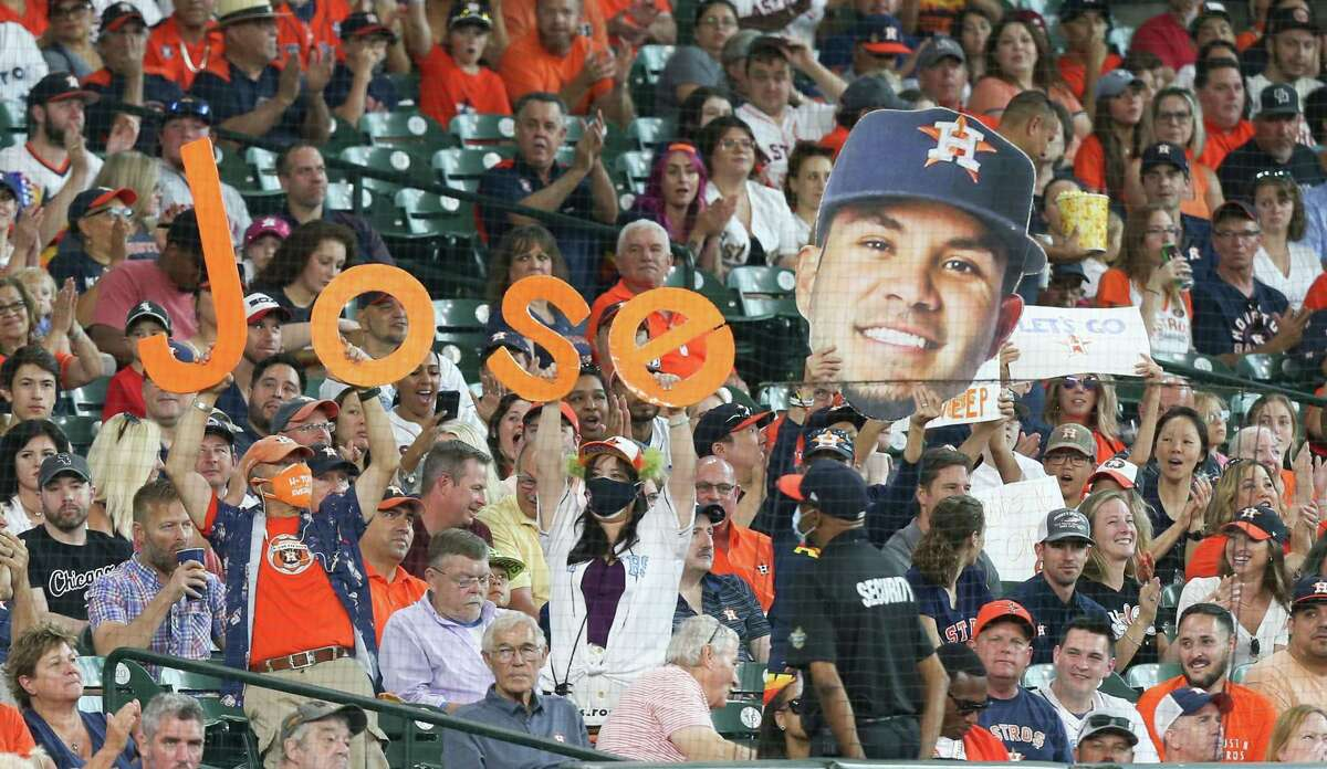 A nearly-full crowd of Houston Astros enjoyed Sunday's game against Chicago White Sox fans at Minute Maid Park in Houston on Sunday, June 20, 2021. Houston Astros won the game 8-2.