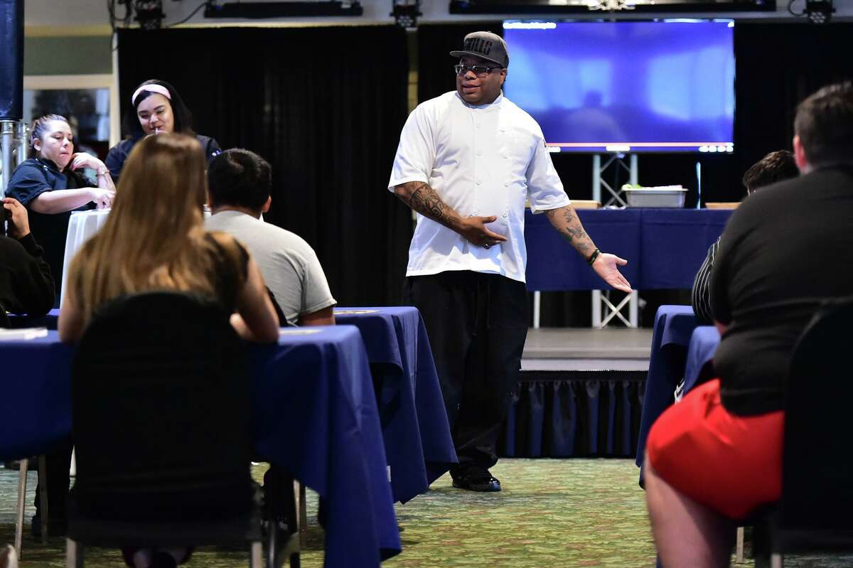 Chef Milas Williams leads an initial Recipe For Life culinary class for teens from the Bexar County Juvenile Detention Center. Williams is a former gang member and inmate who created to course to help San Antonio youth avoid the pitfalls of his past.