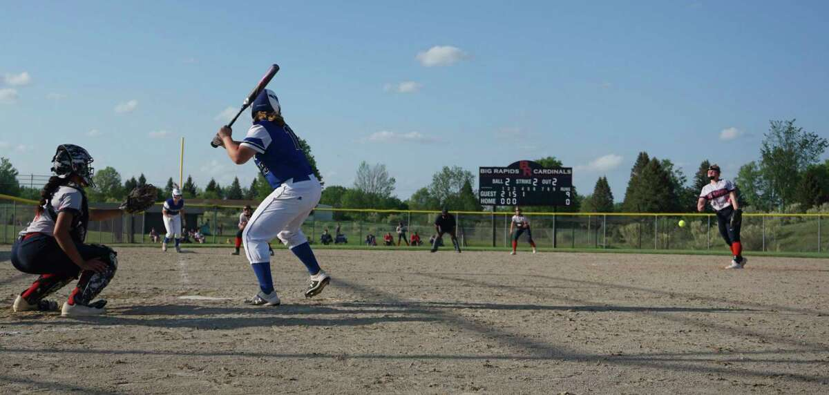 Big Rapids sophomore Rylie Haist fires a pitch from the circle during the recently completed 2021 softball season. (Pioneer file photo)