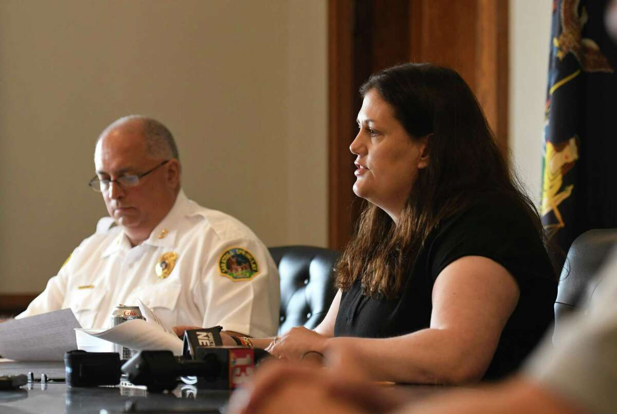 Saratoga Springs Commissioner of Public Safety Robin Dalton, right, and Assistant Chief John Catone, left, hold a press conference to comment on the city's recent upturn of violence on Monday, June 28, 2021, at City Hall in Saratoga Springs, N.Y. (Will Waldron/Times Union)